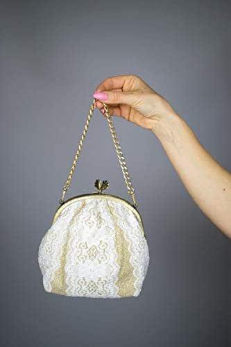 Borse Borsa Pochette Bag Purse donna tela tessuto chiffon saten bianco oro, Luxury, Couture, Handmade