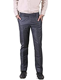 Blue Colored Basic Cotton Rayon Formal Trouser For Men