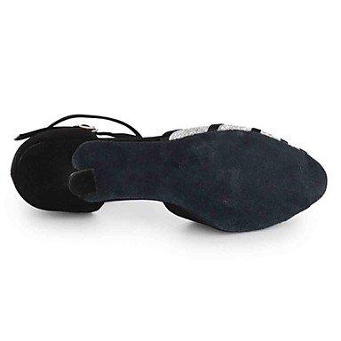 XIAMUO Anpassbare Damen Tanz Schuhe Kunstleder Kunstleder Latein Sandalen angepasste Ferse Praxis Anfänger professionelle Innen- Leistung schwarz/rot