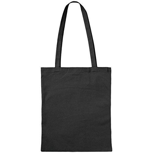 Stoffbeutel aus Baumwolle mit langen Henkeln ca. 38 x 42 cm,Schwarz (100% Bag Baumwolle Tote)