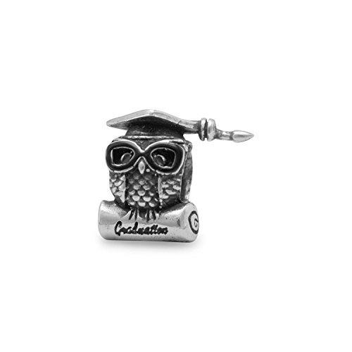 Graduation owl charm bead charm in argento sterling–slide-on–saggio gufo grande dettaglio–adatto per braccialetti europei