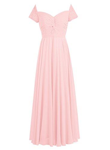 Bbonlinedress Robe de cérémonie Robe de demoiselle d'honneur en mousseline forme empire longueur ras du sol Rose