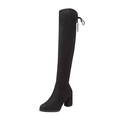 COZOCO Damen Einfarbige hohe Stiefel Runde Zehen Quadrat Ferse Schnürstiefel Over-Knie lang-Shaft Boos(Schwarz,37 EU)
