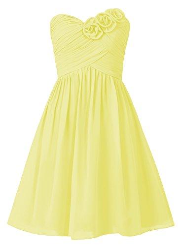 Dresstells, robe courte de demoiselle d'honneur sans bretelles col en cœur avec fleurs Jaune
