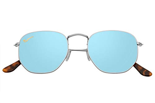 Capraia Lacrima Fancy Hexagon Sunglasses High Quality Silver Metal Frame and Blue Mirrored Polarised Lenses UV400 protected Mens Womens