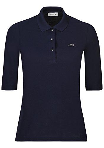 Lacoste PF5381 Klassisches Damen Polo, Polohemd, Polo-Shirt mit 3/4 Arm, Kurzarm, Regular Fit, für Freizeit und Sport, 100% Baumwolle Navy Blue 166