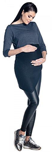 Zeta Ville - Top de grossesse encolure bateau couches allaitement - femme - 453c Marine Mélange
