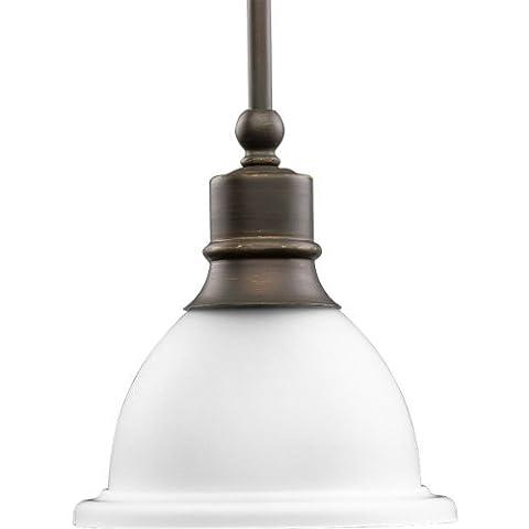 Progress Lighting P5078-20 1-Light Stem-Hung Mini-Pendant with White Etched Glass,