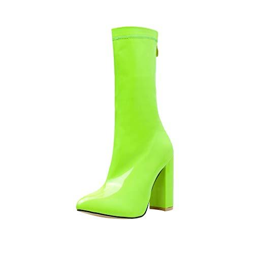 Dorical Damen Stiefel High Heels Klassische Stiefel mit 10 cm Keilabsatz Elegant Winterstiefel mit Reißverschluss Damenstiefel für Frauen Gr 35-42(Grün,35 EU) -