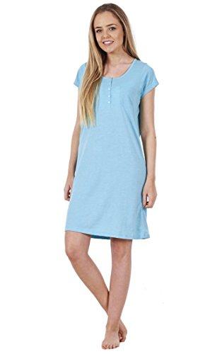 Camicia da notte in cotone da donna - con stampa - maniche corte Celeste