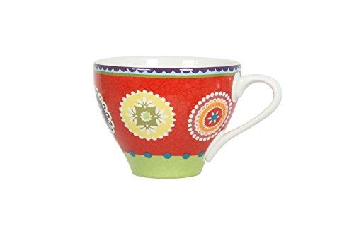 Novastyl 8018019 Caracas Lot de 6 Tasses Mixtes Céramique Rouge 12 x 8,9 x 7 cm