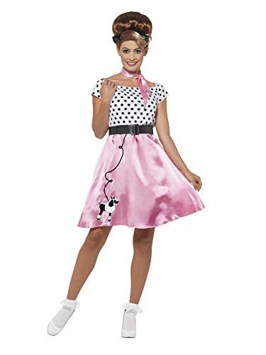 Smiffys 45515S - Damen 50's Rock 'n' Roll Kostüm, Kleid, Gürtel und Halstuch, Größe: 36-38, rosa