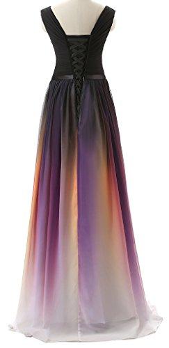 Eudolah Maxi robe de soiree ceremonie en moussline multicolore femme Noir Rouge-V