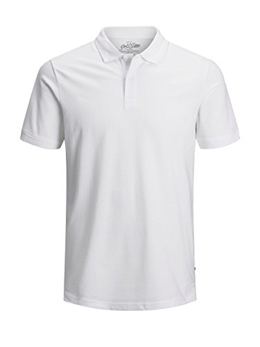 JACK & JONES Herren JJEBASIC Polo SS NOOS Poloshirt, per Pack Weiß (White Detail: Slim FIT), Large (Herstellergröße: L) - Polo-tee