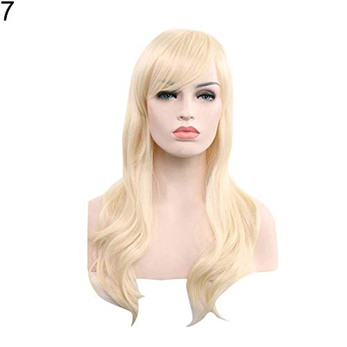 Synthetisches Perückenhaar, Frauen-langes gelocktes Mode-volles Perücken-Haar-Erweiterungs-Cosplay-Partei-Haarteil - hellgoldenes