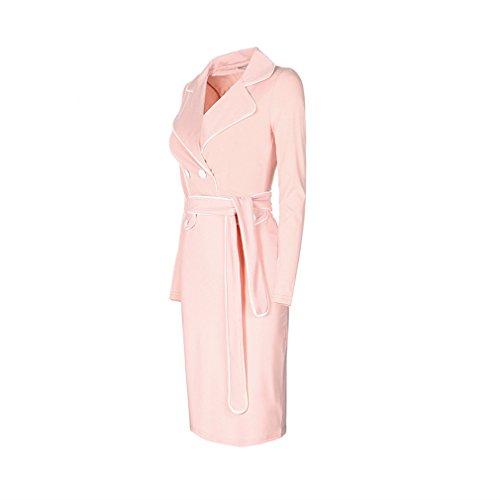 La Vogue Robe Chemise Genou Femme Revers Col V Bouton Manche Longue Fourreau Rose