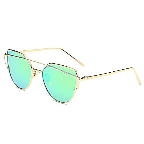 SojoS Katzenauge Metall Rand Rahmen Damen Frau Mode Sonnebrille Gespiegelte Linse Women Sunglasses SJ1001 mit Gold Rahmen/Licht Grün (Gold Grün Sonnenbrille)