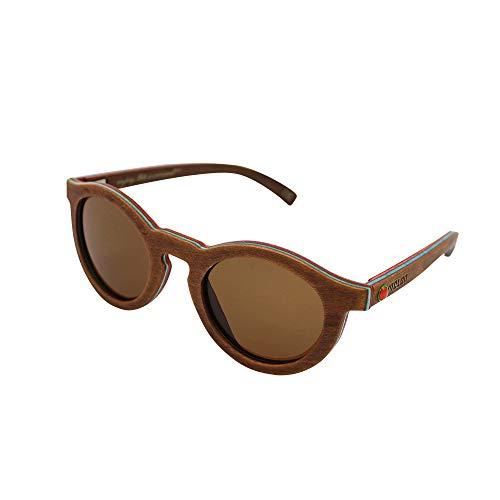 MELON Unisex Polarisierte Sonnenbrille aus kanadischem Ahorn, UV 400, Woodys Sunshades Skatewood, Jake II Caramel -