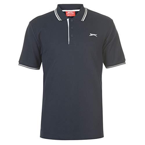 Slazenger Tipped Herren Polo Poloshirt T Shirt Kurzarm Classic Fit Tee Top XXL - Trim Fit Shirt