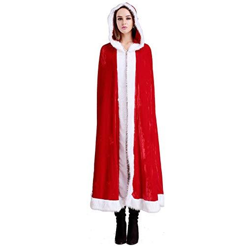 MAKFORT Weihnachten Umhang Rot Plüschkante Rotkäppchen Samt Umhang Damen Kostüm Für Weihnachten