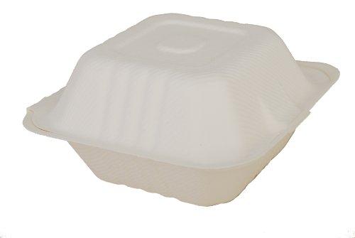 Southern Champion Tablett champware Formteile Fasern weiß Klapp-Container (verschiedene Größen), 6 Inches Length x 6 Inches Width, weiß, 500 -