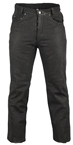 MDM Lederjeans Bikerjeans Western Nubuk Leder schwarz Motorradjeans Hose Lederhose (36) Western Jeans-hose