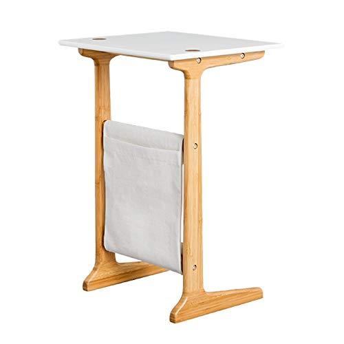 Sdsa8da Esstisch Bamboo Sofa Beistelltisch Weiß Couchtisch für Wohnzimmer Nachttisch für Schlafzimmer Akzent Möbel (Farbe : White Top)