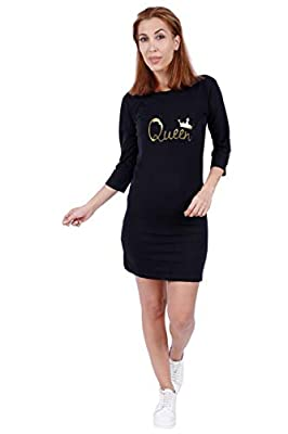 ADYK Cotton Couple T Shirt Dress King Queen