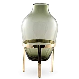 Nordstjerne - Adorn Ladina - Vase mit Metallständer - Gold matt Grün - (HxØ): 27 x 14 cm