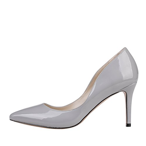 Lackleder Dress EKS toe Heels Stilettos Damen Pointed Grau Pumps wwXz8qvW