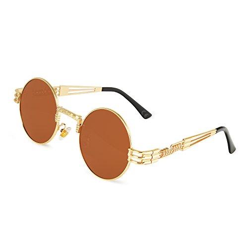AMZTM Retro Steampunk Verspiegelt Sonnenbrille Klassischer Kreis Hippie Brille für Damen Herren Polarisierte Linse Runder Metallrahmen UV400 Schutz Alte Mode Brille (Golden Rahmen Dunkelbraun Linse, 49)