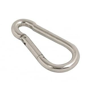 2 x LARGE Carabina SNAP HOOK Clips - 10mm Dia x 100mm Long - HEAVY DUTY - Working Load 300kg - MEGA STRONG GALVANISED Locking Carabiner