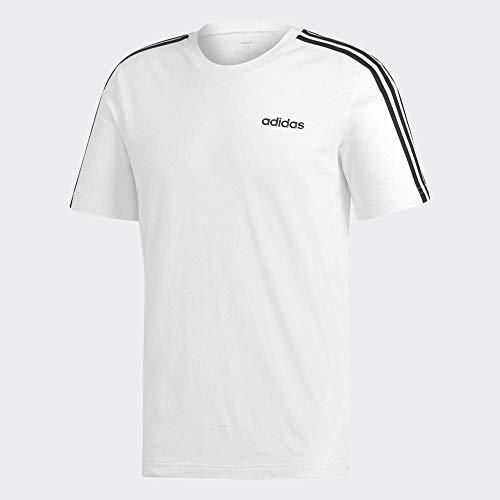 Adidas essentials 3 stripes t-shirt, t-shirts uomo, white/black, l