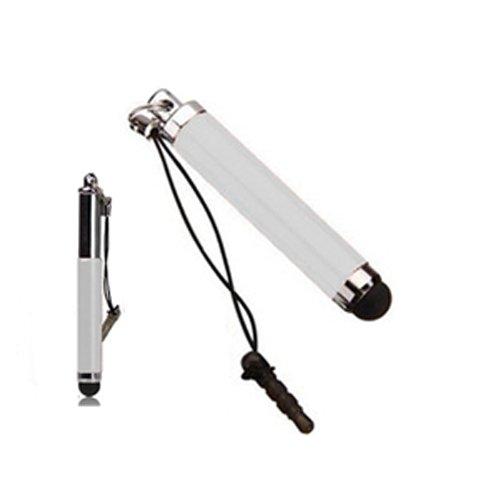 Xtra-Funky Exklusiv qualitativ hochwertiger Mini universaler kapazitiver einziehbarer Stylus Stift mit Weichgummispitze ideal für alle Arten von Touchscreen Geräten / iPad 1 2 3 Mini / iPhone 3 4 5 / Samsung / Nokia / BlackBerry / Kobo / Tablets und viele mehr - Weiß (Kopfhörerbuchse Stift)