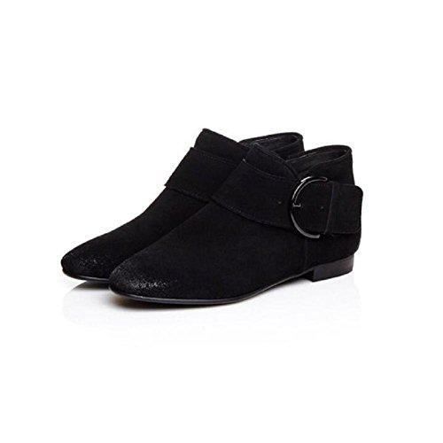 YYH Casual Simple Tube Court bottes nu givré tourné tempérament cuir des femmes peu bottes chaussures Black