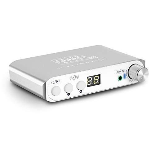 Q100 2.1 Channel Hi-Fi Bluetooth Verstärker , Class D Stereo Amplifier , Mini Home Theater Power Speaker Amp , Digital Subwoofer Amplifier, Wireless Audio Empfänger , 80W+40Wx2 , Dual DSP (Silver) (Home Power Subwoofer)