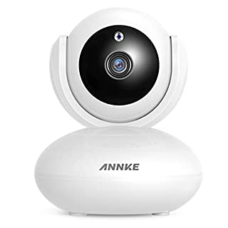 ANNKE IP Camera 1080P Smart Home Wireless Security Camera, Work with Alexa (Echo Show/Echo Spot), APP Alarm Push, Pan/Tilt, Auto Tracking, Two-Way Audio, Support 64GB TF Card, Cloud Storage Available