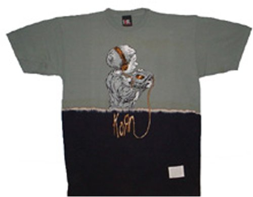 Korn - CD-Player 2-tone - T-Shirts - grau/schwarz - Größe: L (2-ton-t-shirt)