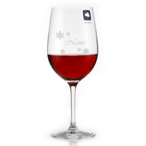 Leonardo Edeles Weinglas mit Gratis Namensgravur - Motiv: Schneekristall mit Wunschname