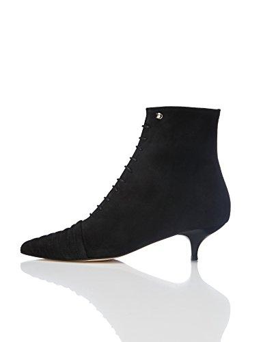 Stiefel Dame (FIND Damen Stiefel mit Kitten-Heel, Schwarz (Black), 39)