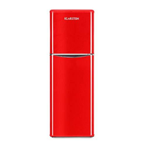 Klarstein Monroe XL Red V 2 Combinazione Frigo Congelatore Frigorifero Combinato 70 W Look Retrò Anni 50 60 Silenzioso 3 Ripiani Vetro Frigo 97 L