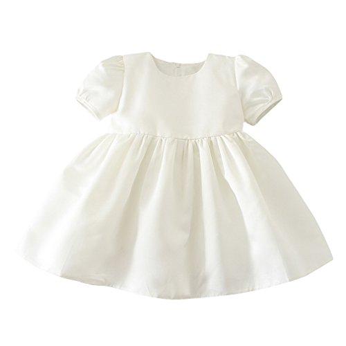 EOZY Baby Taufkleid Mädchen Prinzessin Hochzeitskleid mit Mütze Weiß Brust55cm