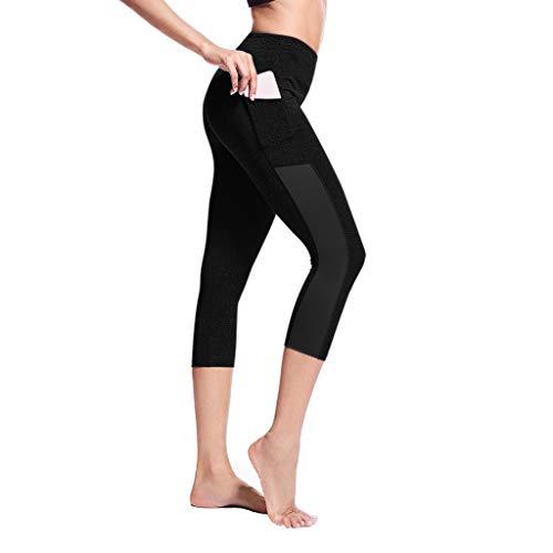 Sonnena Damen Hosen,Frauen Splice Yoga dünne Workout Gym Leggings Fitness Sport beschnitten Hosen Einfarbig Strumpfhose Active Running Casual Pants Workout Leggings - Beschnitten Spandex-leggings