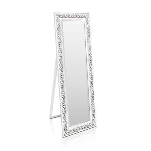 Shabby Chic Wandspiegel - 130 x 45 cm - Großer französischer Standspiegel im Vintage Stil - Antik Weiß und Silber