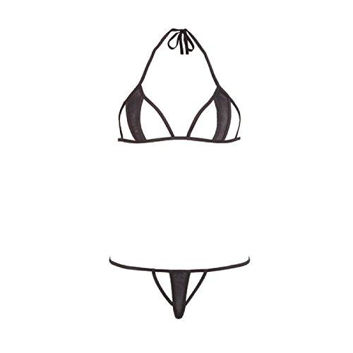 Sexy Dessous-Set - Neckholder Bikini und String mit transparenten Stoffeinlagen S-L Schwarz Mandy mystery Line (2-teilig) Größe S/L