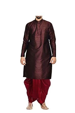 Mag Men's Maroon Silk Kurta Red Dhoti (AMG--1841A-36)
