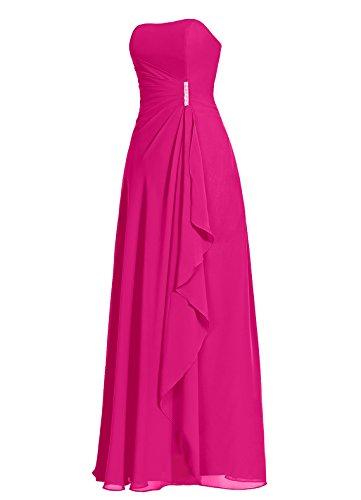 Dresstells Damen Abendkleider Bodenlang Strapless Homecoming Kleider Brautjungfernkleider Blau