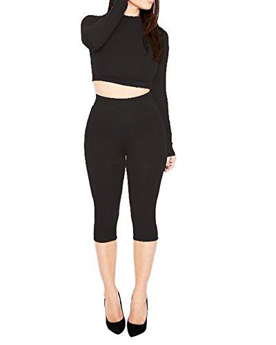 SaiDeng Femmes Décontractée Manche Longue Crew Neck Tops Bodycon Pantalon 2 Pcs Set Noir