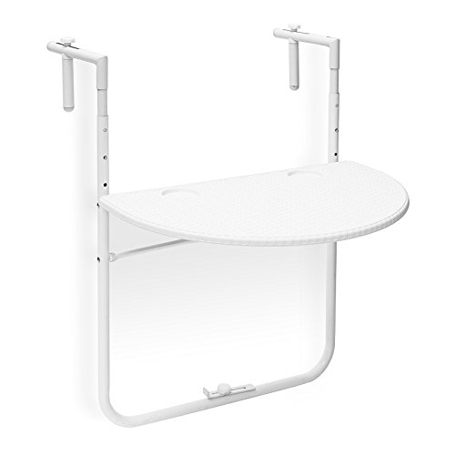 Relaxdays Table de balcon pliante pliable appoint table suspendue rabattable BASTIAN rotin hauteur réglable l x P: 60 x 40 cm, blanc