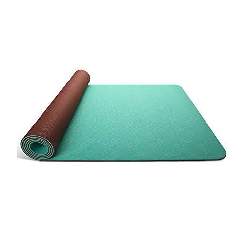 XINGZHE Yogamatte - rutschhemmend, verlängert verbreitert, TPE, Anfänger und Anfänger Yoga Dance Fitnessmatte, Bodenmatte, Größe: 183cmX68cm rutschfeste Fitnessmatte (Color : Emerald Green)